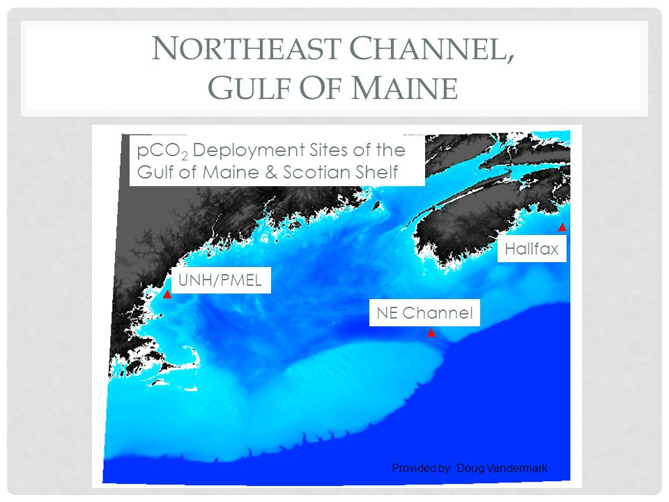 N ORTHEAST C HANNEL, G ULF O F M AINE pCO 2 Deployment Sites of the Gulf of Maine & Scotian Shelf UNH/PMEL Halifax NE Channel Provided by: Doug Vandermark