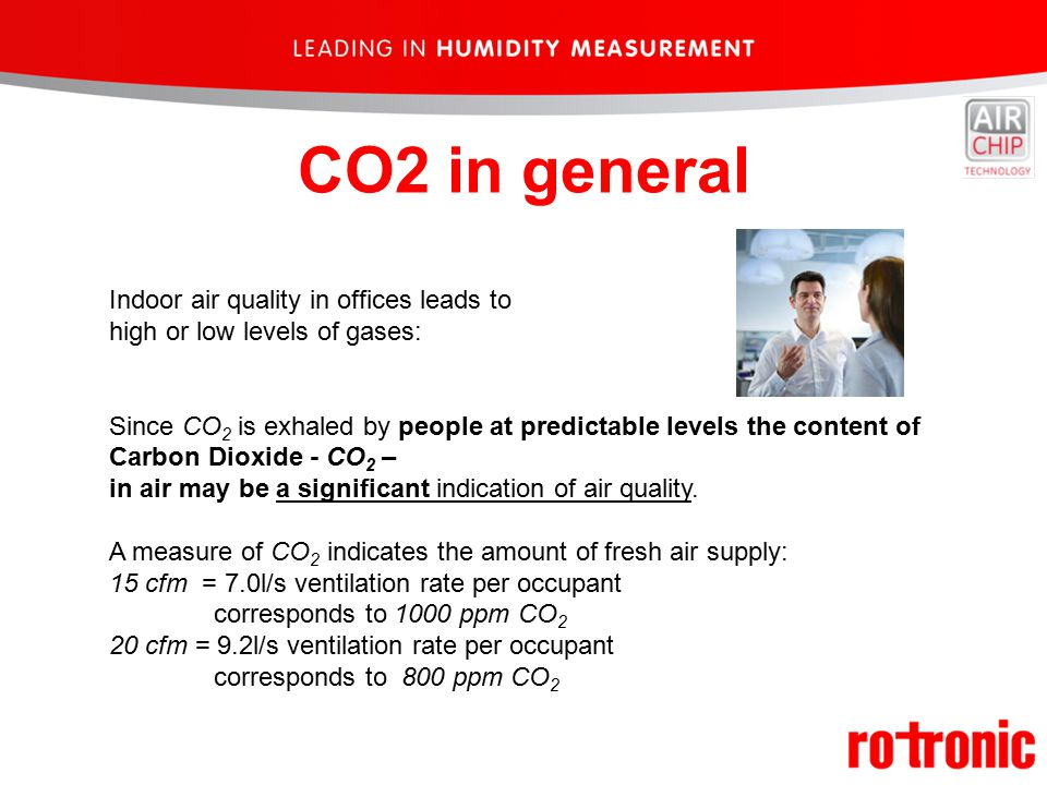 Indoor air quality in offices leads to high or low levels of gases: Since CO 2 is exhaled by people at predictable levels the content of Carbon Dioxide - CO 2 – in air may be a significant indication of air quality.