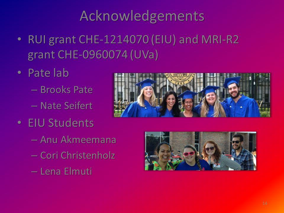 Acknowledgements RUI grant CHE-1214070 (EIU) and MRI-R2 grant CHE-0960074 (UVa) RUI grant CHE-1214070 (EIU) and MRI-R2 grant CHE-0960074 (UVa) Pate lab Pate lab – Brooks Pate – Nate Seifert EIU Students EIU Students – Anu Akmeemana – Cori Christenholz – Lena Elmuti 14
