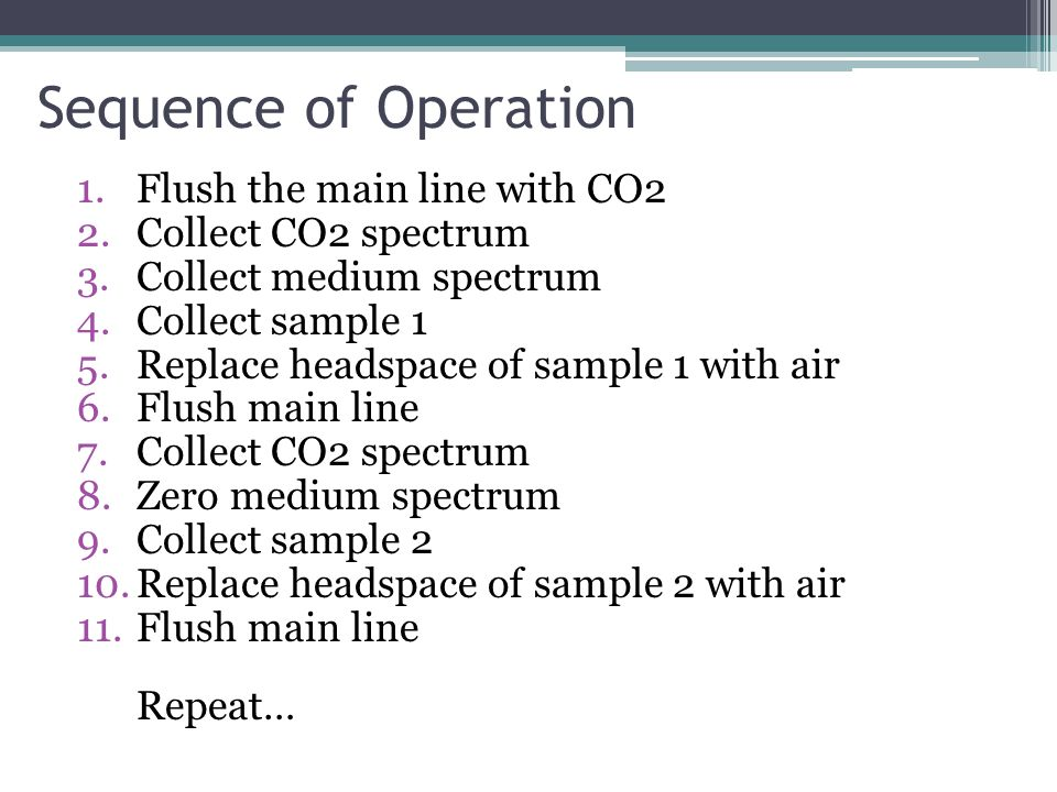 Sequence of Operation 1.Flush the main line with CO2 2.Collect CO2 spectrum 3.Collect medium spectrum 4.Collect sample 1 5.Replace headspace of sample 1 with air 6.Flush main line 7.Collect CO2 spectrum 8.Zero medium spectrum 9.Collect sample 2 10.Replace headspace of sample 2 with air 11.Flush main line Repeat…