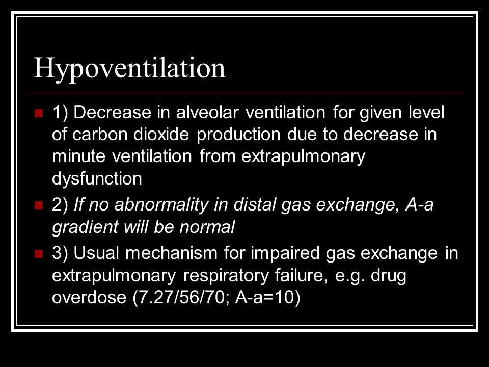 Hypoventilation 1) Decrease in alveolar ventilation for given level of carbon dioxide production due to decrease in minute ventilation from extrapulmo