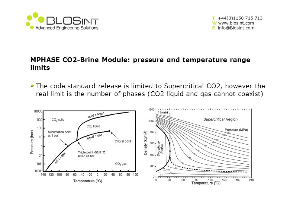 MPHASE CO2-Brine Module: pressure and temperature range limits The code standard release is limited to Supercritical CO2, however the real limit is th