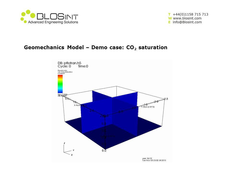 Geomechanics Model – Demo case: CO 2 saturation