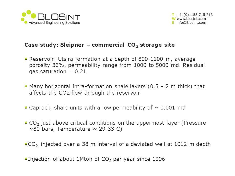 Case study: Sleipner – commercial CO 2 storage site Reservoir: Utsira formation at a depth of 800-1100 m, average porosity 36%, permeability range fro