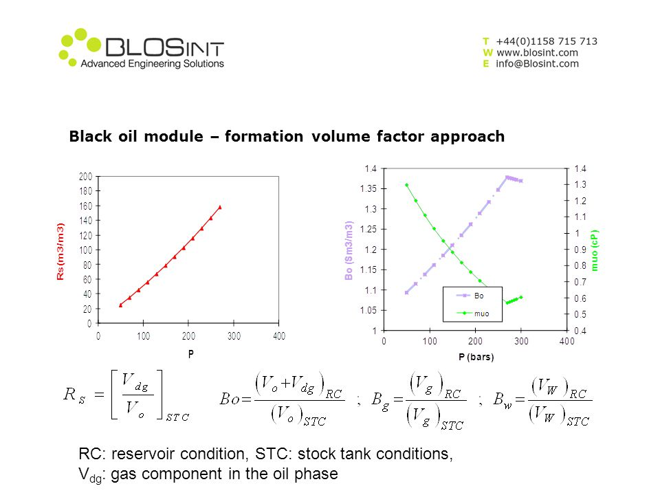 Black oil module – formation volume factor approach RC: reservoir condition, STC: stock tank conditions, V dg : gas component in the oil phase