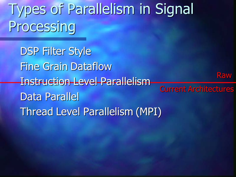 Types of Parallelism in Signal Processing DSP Filter Style Fine Grain Dataflow Instruction Level Parallelism Data Parallel Thread Level Parallelism (MPI) Current Architectures Raw