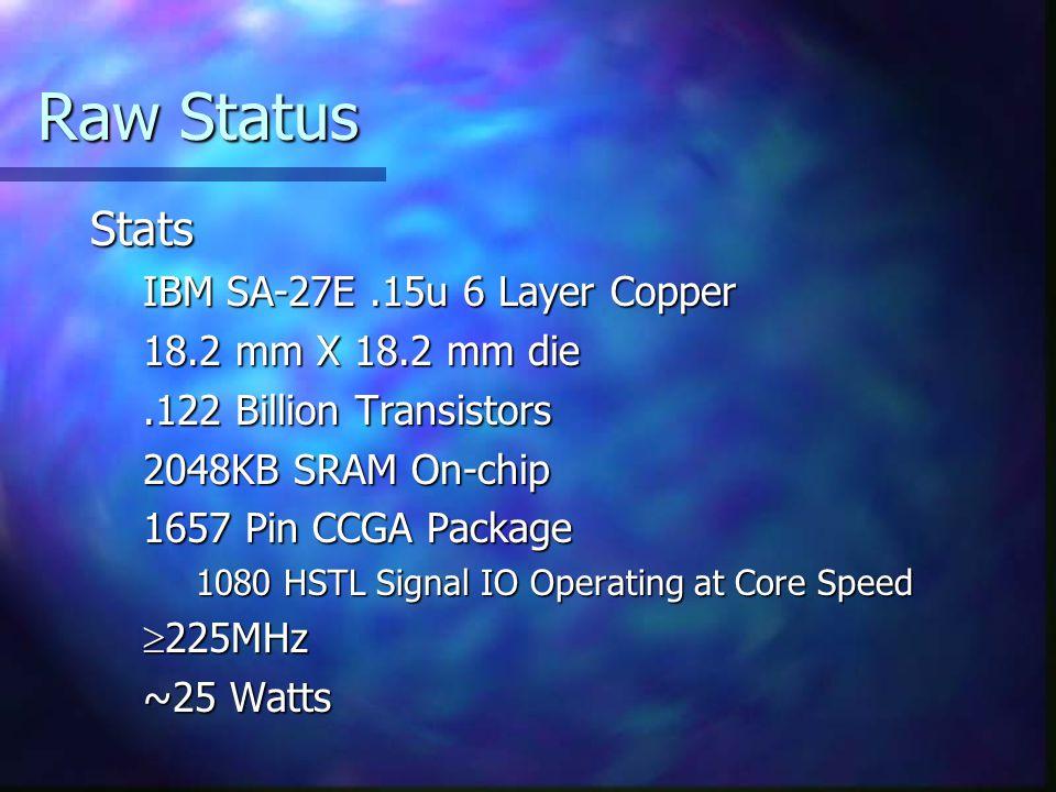 Raw Status Stats IBM SA-27E.15u 6 Layer Copper 18.2 mm X 18.2 mm die.122 Billion Transistors 2048KB SRAM On-chip 1657 Pin CCGA Package 1080 HSTL Signal IO Operating at Core Speed  225MHz ~25 Watts