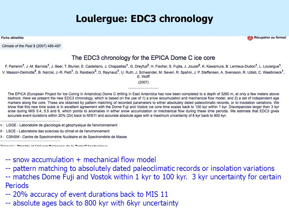 Loulergue: EDC3 chronology -- snow accumulation + mechanical flow model -- pattern matching to absolutely dated paleoclimatic records or insolation variations -- matches Dome Fuji and Vostok within 1 kyr to 100 kyr.