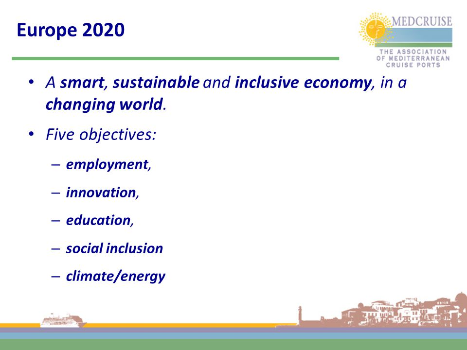 Europe 2020 A smart, sustainable and inclusive economy, in a changing world. Five objectives: – employment, – innovation, – education, – social inclus