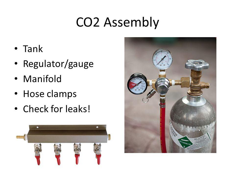 CO2 Assembly Tank Regulator/gauge Manifold Hose clamps Check for leaks!