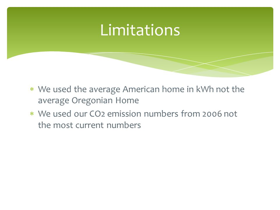  We used the average American home in kWh not the average Oregonian Home  We used our CO2 emission numbers from 2006 not the most current numbers Limitations