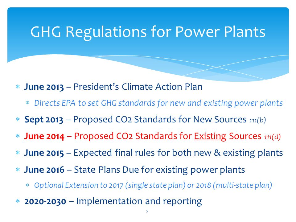  June 2013 – President's Climate Action Plan  Directs EPA to set GHG standards for new and existing power plants  Sept 2013 – Proposed CO2 Standards for New Sources 111(b)  June 2014 – Proposed CO2 Standards for Existing Sources 111(d)  June 2015 – Expected final rules for both new & existing plants  June 2016 – State Plans Due for existing power plants  Optional Extension to 2017 (single state plan) or 2018 (multi-state plan)  2020-2030 – Implementation and reporting GHG Regulations for Power Plants 5