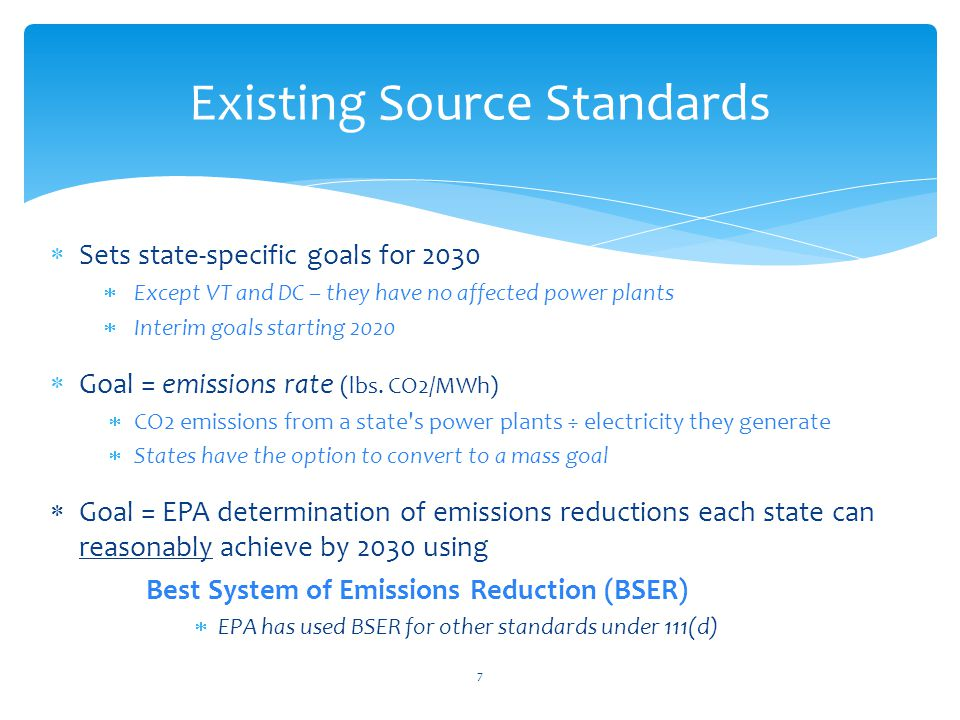  Sets state-specific goals for 2030  Except VT and DC – they have no affected power plants  Interim goals starting 2020  Goal = emissions rate (lbs.
