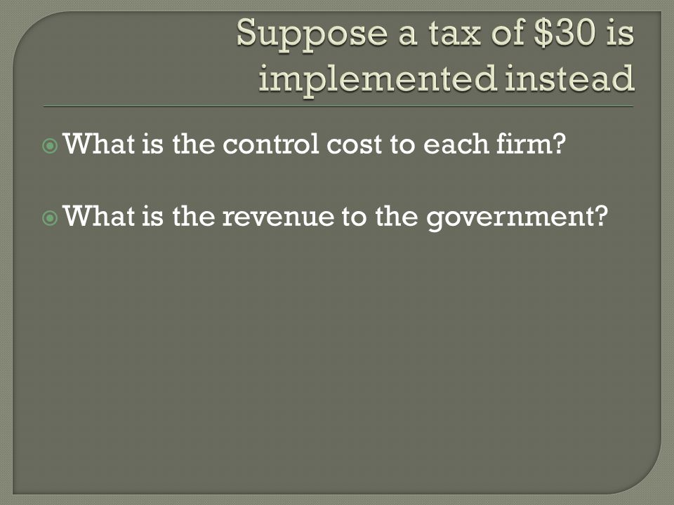  What is the control cost to each firm  What is the revenue to the government