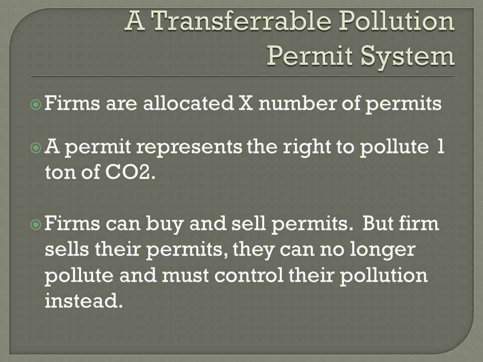  Firms are allocated X number of permits  A permit represents the right to pollute 1 ton of CO2.