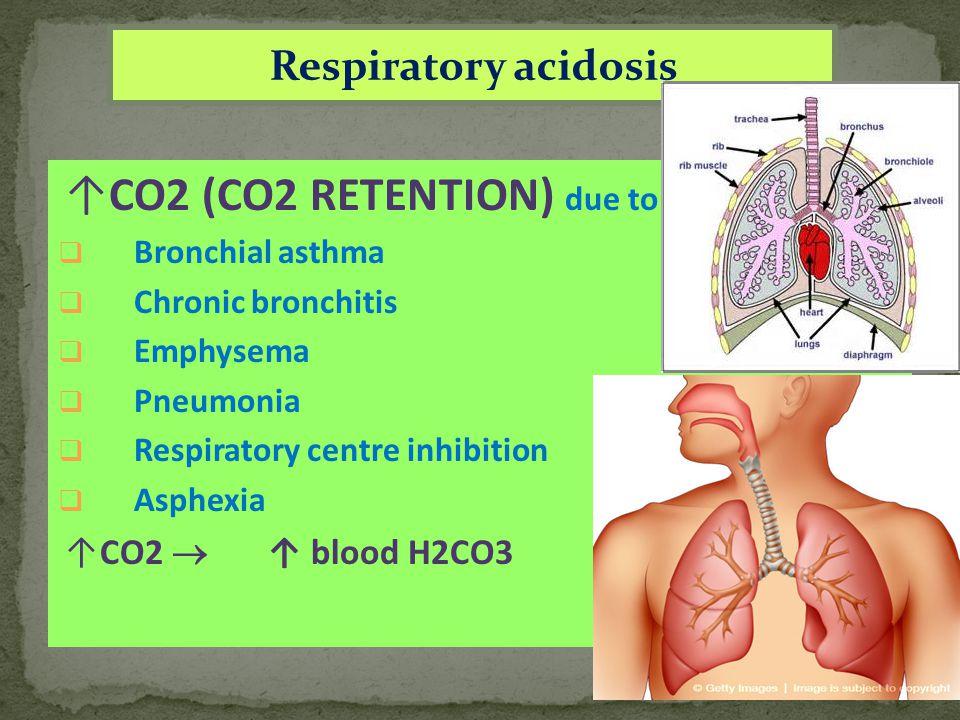 Respiratory acidosis ↑CO2 (CO2 RETENTION) due to  Bronchial asthma  Chronic bronchitis  Emphysema  Pneumonia  Respiratory centre inhibition  Asphexia ↑CO2  ↑ blood H2CO3