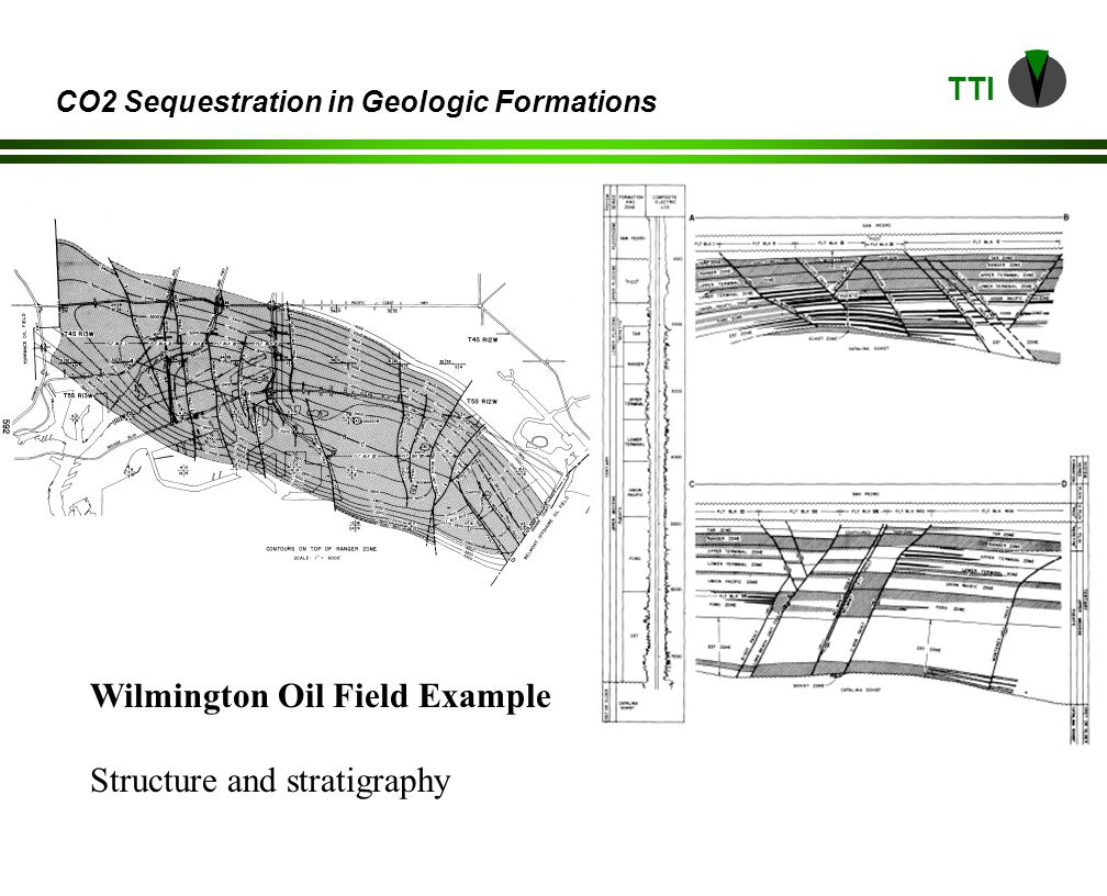 TTI CO2 Sequestration in Geologic Formations ZoneThickness (ft)Area (mm ft2)Volume (mm ft3)Porosity (%)Permeability (md) Upper Terminal 30032497,20030.0735 Lower Terminal 360324116,64029.0500 Union Pacific 12510813,50029.0140 Ford30010832,40024.080 2372007214,40023.0168 Potential injection zones in the Wilmington field.