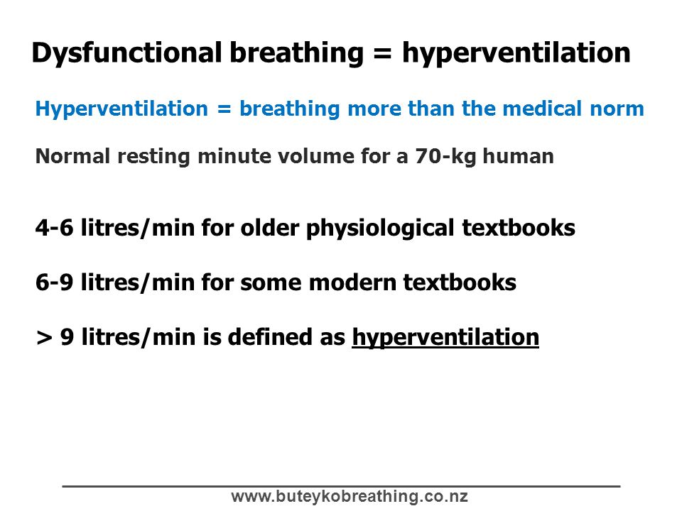 www.buteykobreathing.co.nz Dysfunctional breathing = hyperventilation Hyperventilation = breathing more than the medical norm Normal resting minute vo