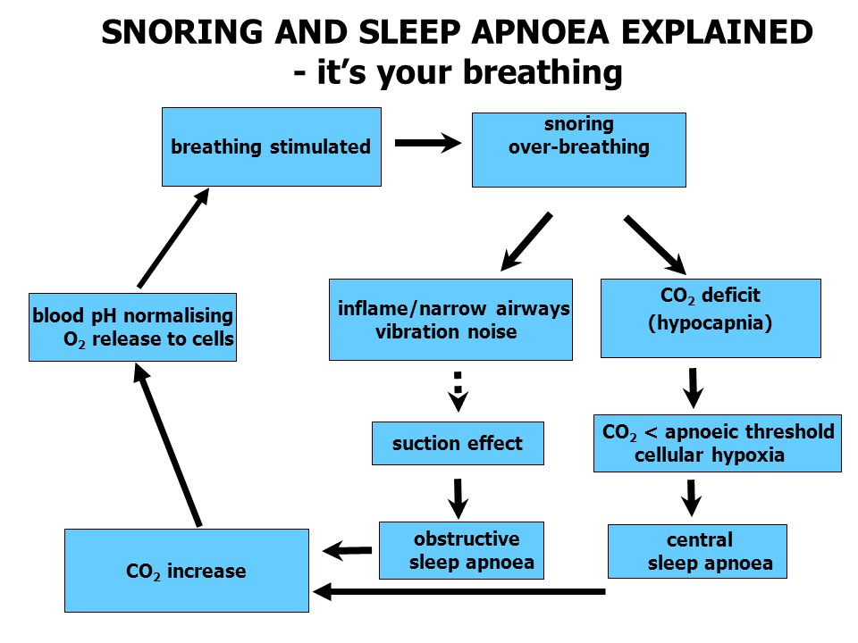 SNORING AND SLEEP APNOEA EXPLAINED - it's your breathing breathing stimulated snoring over-breathing blood pH normalising O 2 release to cells inflame/narrow airways vibration noise suction effect CO 2 increase CO 2 deficit (hypocapnia) central sleep apnoea CO 2 < apnoeic threshold cellular hypoxia obstructive sleep apnoea