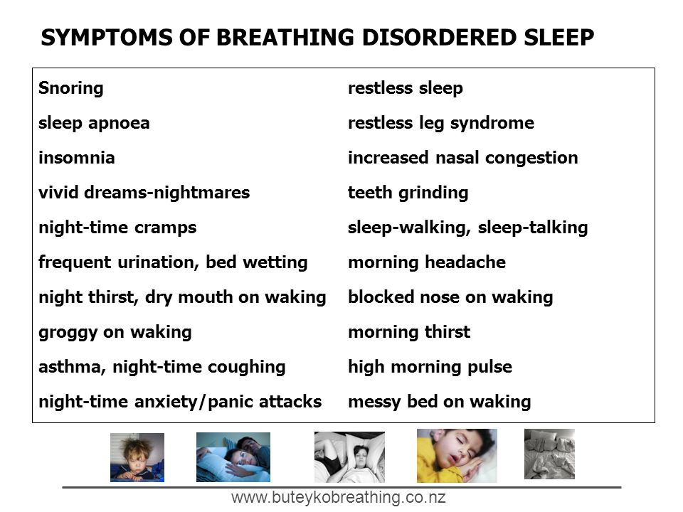www.buteykobreathing.co.nz SYMPTOMS OF BREATHING DISORDERED SLEEP Snoring sleep apnoea insomnia vivid dreams-nightmares night-time cramps frequent urination, bed wetting night thirst, dry mouth on waking groggy on waking asthma, night-time coughing night-time anxiety/panic attacks restless sleep restless leg syndrome increased nasal congestion teeth grinding sleep-walking, sleep-talking morning headache blocked nose on waking morning thirst high morning pulse messy bed on waking