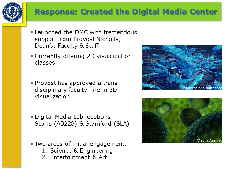 Response: Created the Digital Media Center  Launched the DMC with tremendous support from Provost Nicholls, Dean's, Faculty & Staff  Currently offer