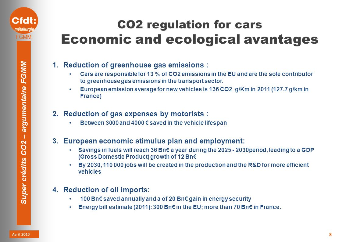 Avril 2013 Super crédits CO2 – argumentaire FGMM 8 CO2 regulation for cars Economic and ecological avantages 1.Reduction of greenhouse gas emissions : Cars are responsible for 13 % of CO2 emissions in the EU and are the sole contributor to greenhouse gas emissions in the transport sector.