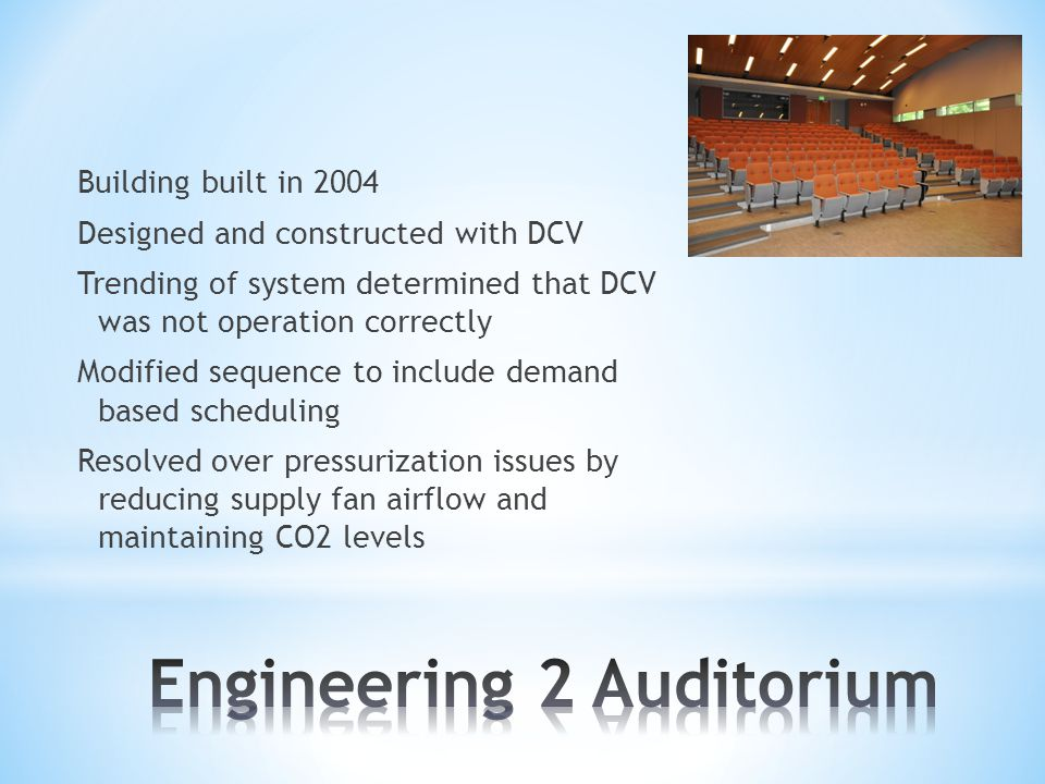 Building built in 2004 Designed and constructed with DCV Trending of system determined that DCV was not operation correctly Modified sequence to inclu