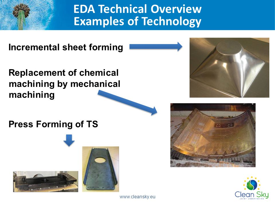 Incremental sheet forming Replacement of chemical machining by mechanical machining Press Forming of TS EDA Technical Overview Examples of Technology www.cleansky.eu