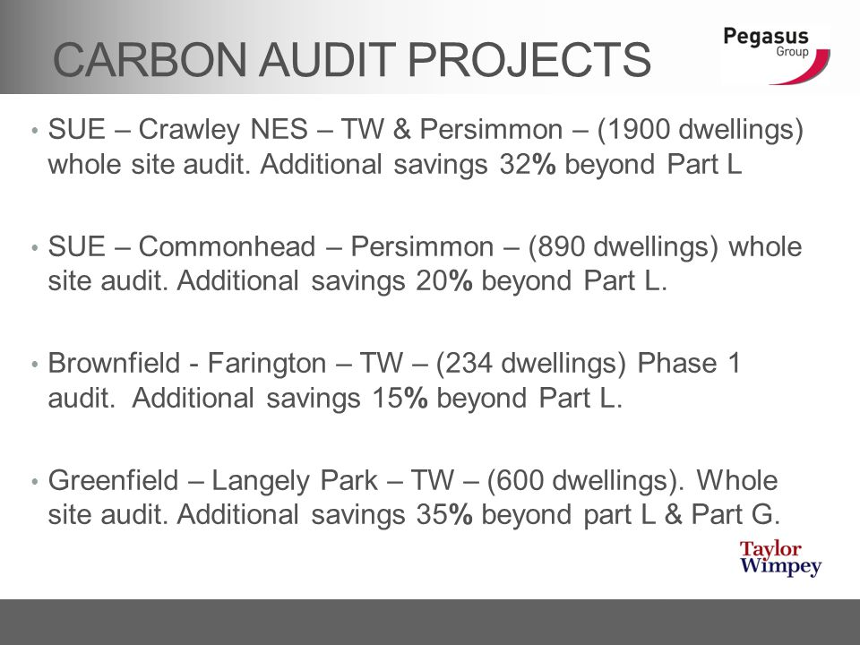 CARBON AUDIT PROJECTS SUE – Crawley NES – TW & Persimmon – (1900 dwellings) whole site audit. Additional savings 32% beyond Part L SUE – Commonhead –