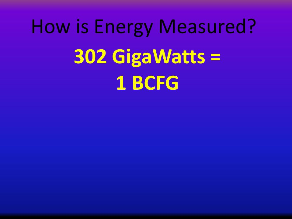 How is Energy Measured 302 GigaWatts = 1 BCFG