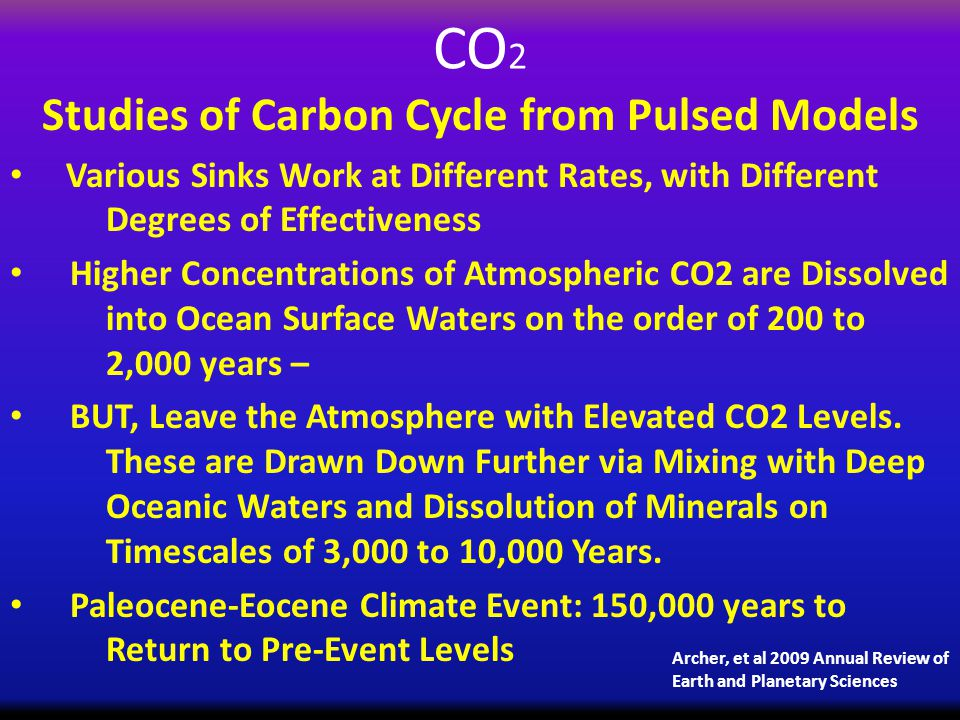 CO 2 Studies of Carbon Cycle from Pulsed Models Various Sinks Work at Different Rates, with Different Degrees of Effectiveness Higher Concentrations of Atmospheric CO2 are Dissolved into Ocean Surface Waters on the order of 200 to 2,000 years – BUT, Leave the Atmosphere with Elevated CO2 Levels.