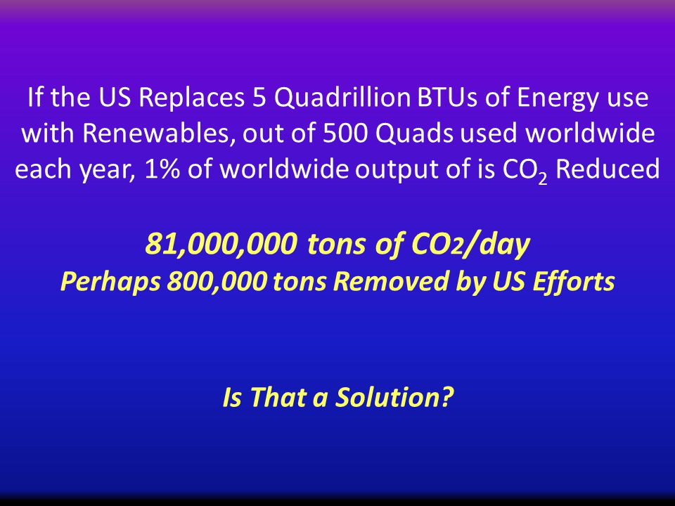 If the US Replaces 5 Quadrillion BTUs of Energy use with Renewables, out of 500 Quads used worldwide each year, 1% of worldwide output of is CO 2 Reduced 81,000,000 tons of CO 2 /day Perhaps 800,000 tons Removed by US Efforts Is That a Solution