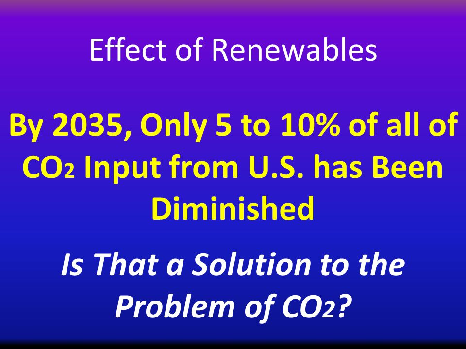 Effect of Renewables By 2035, Only 5 to 10% of all of CO 2 Input from U.S.