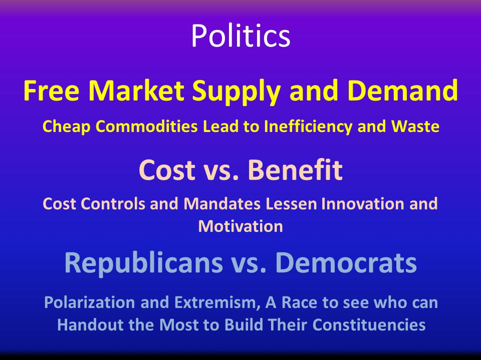 Politics Cost vs. Benefit Republicans vs.