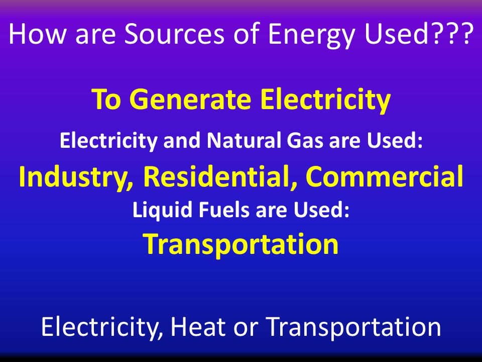 How are Sources of Energy Used .