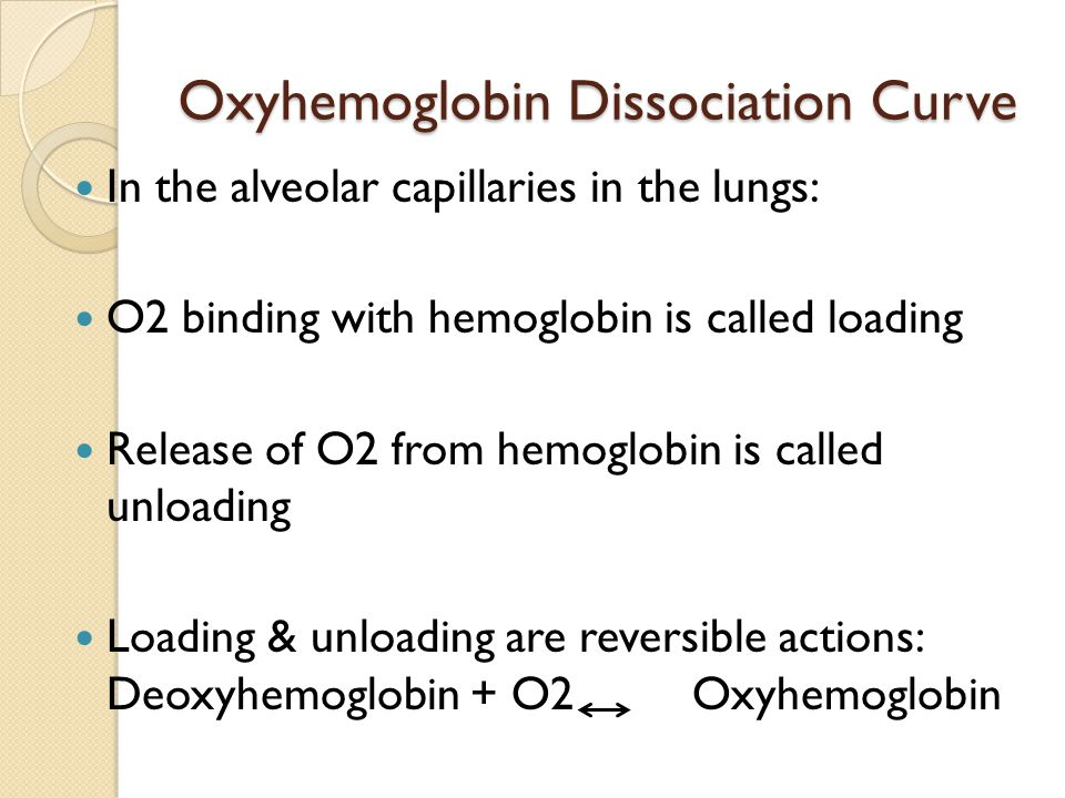 Oxyhemoglobin Dissociation Curve In the alveolar capillaries in the lungs: O2 binding with hemoglobin is called loading Release of O2 from hemoglobin is called unloading Loading & unloading are reversible actions: Deoxyhemoglobin + O2 Oxyhemoglobin