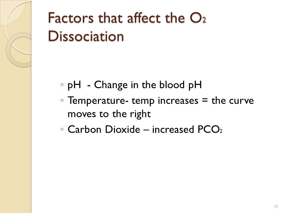 Factors that affect the O 2 Dissociation ◦ pH - Change in the blood pH ◦ Temperature- temp increases = the curve moves to the right ◦ Carbon Dioxide – increased PCO 2 18