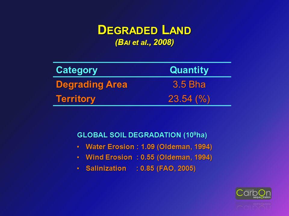 D EGRADED L AND (B AI et al., 2008) CategoryQuantity Degrading Area 3.5 Bha Territory 23.54 (%) GLOBAL SOIL DEGRADATION (10 9 ha) Water Erosion : 1.09