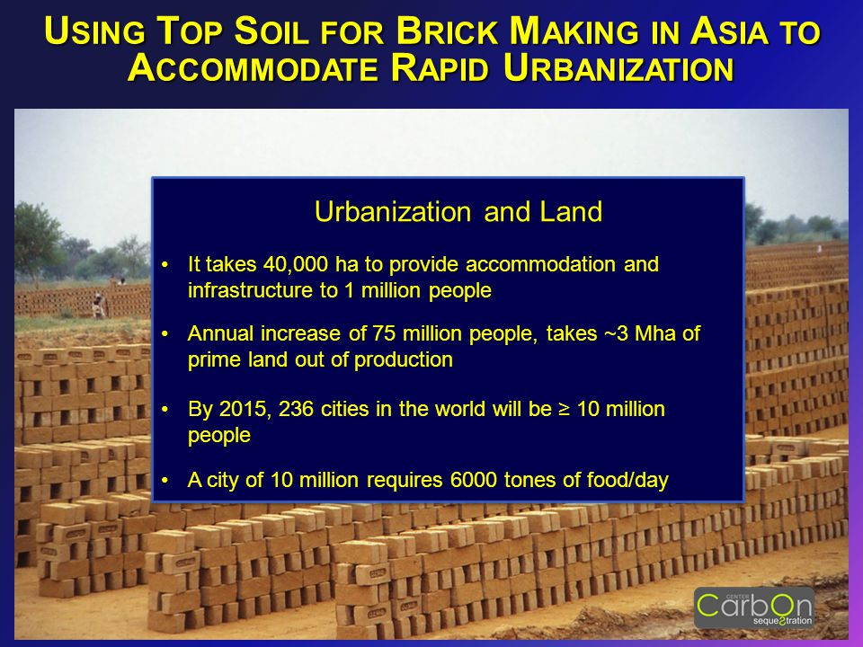 Urbanization and Land It takes 40,000 ha to provide accommodation and infrastructure to 1 million peopleIt takes 40,000 ha to provide accommodation an