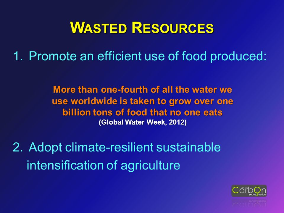 1.Promote an efficient use of food produced: 2.Adopt climate-resilient sustainable intensification of agriculture More than one-fourth of all the wate