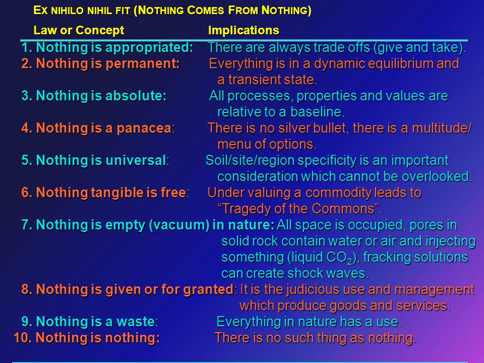 E X NIHILO NIHIL FIT (N OTHING C OMES F ROM N OTHING ) 1.