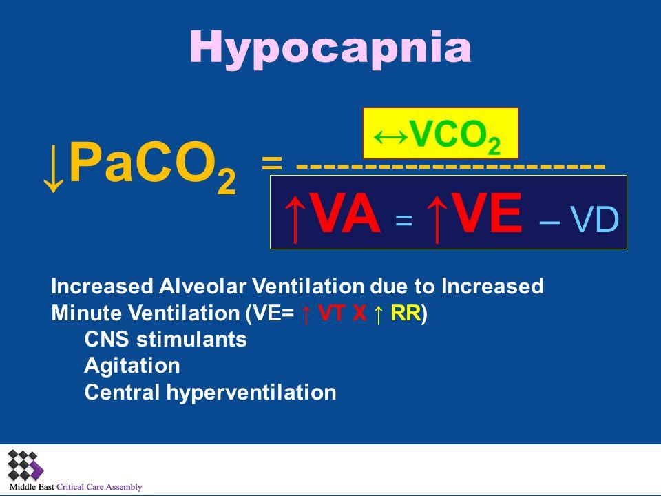 Hypocapnia ↓PaCO 2 ↔VCO 2 = ----------------------- ↑VA = ↑VE – VD Increased Alveolar Ventilation due to Increased Minute Ventilation (VE= ↑ VT X ↑ RR) CNS stimulants Agitation Central hyperventilation
