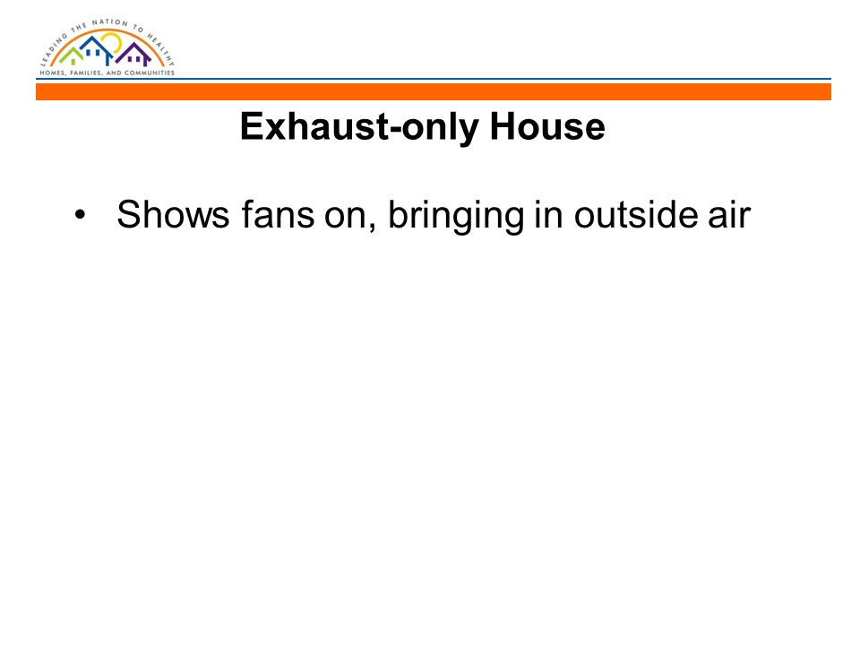 Exhaust-only House Shows fans on, bringing in outside air