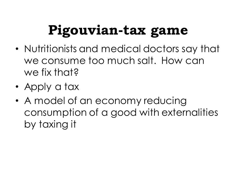 Pigouvian tax Arthur Pigou Externalities Impact of externalities on consumption A tax applied to a market activity that generates negative externalities (costs for somebody else).