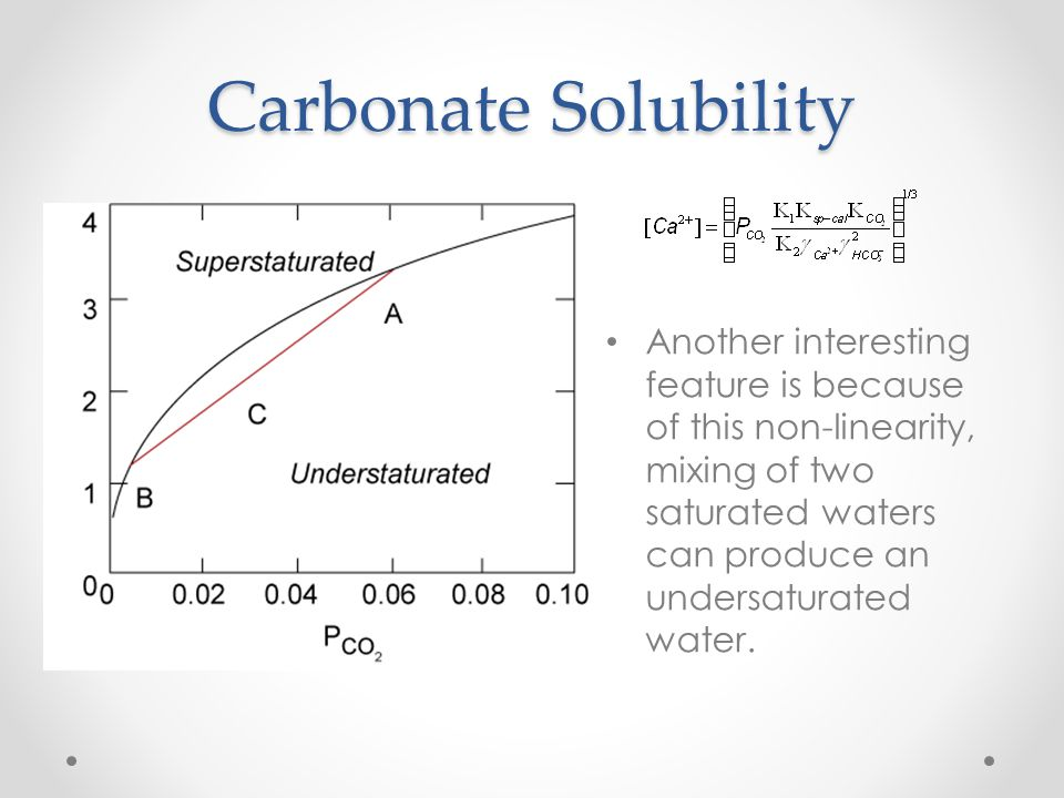 Carbonate Solubility Open system solutions, those in equilibrium with CO 2 gas in the atmosphere or soil, can dissolve more calcite than closed systems waters.