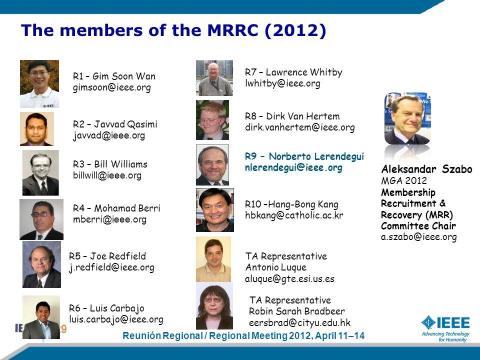 Reunión Regional / Regional Meeting 2012, April 11–14 The members of the MRRC (2012) R10 –Hang-Bong Kang hbkang@catholic.ac.kr R9 – Norberto Lerendegu