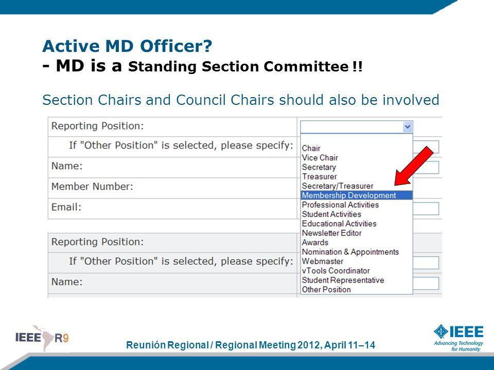 Reunión Regional / Regional Meeting 2012, April 11–14 Active MD Officer.