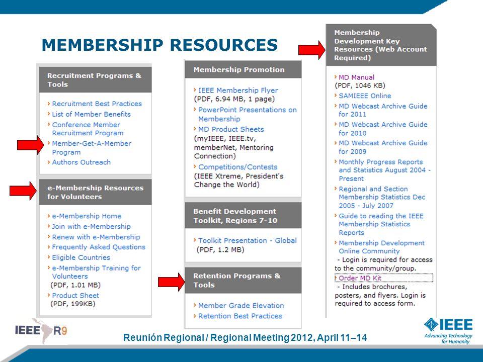 Reunión Regional / Regional Meeting 2012, April 11–14 MEMBERSHIP RESOURCES