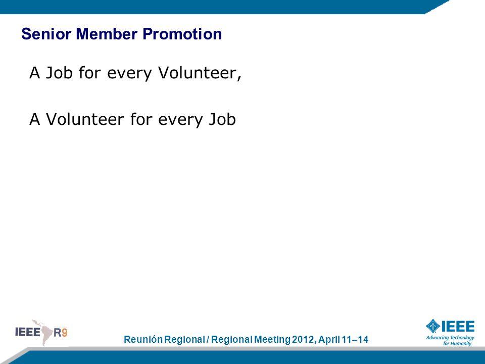 Reunión Regional / Regional Meeting 2012, April 11–14 A Job for every Volunteer, A Volunteer for every Job Senior Member Promotion