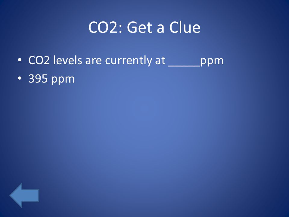 CO2: Get a Clue CO2 levels are currently at _____ppm 395 ppm